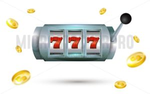 777 slots Lucky seven casino machine with gold coins isolated on white background.  Slot machine with jackpot. Vector illustration. - Vector illustrations for everyone | Microstocker.Pro