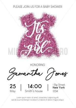 Baby girl shower invitation card with pink glittered dress and calligraphy. Minimalistic elegance design template for baby shower. Vector illustration. - Vector illustrations for everyone | Microstocker.Pro