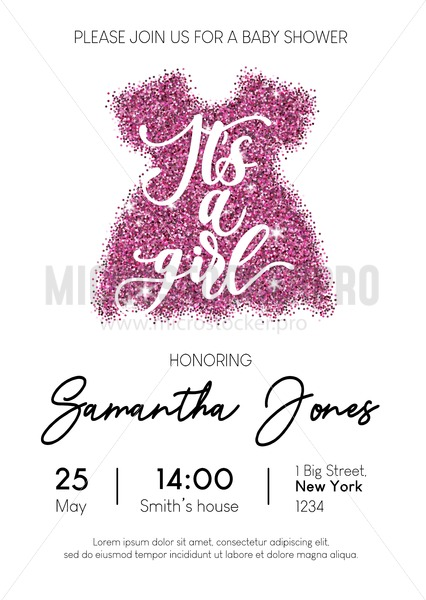 Baby Girl Shower Invitation Card With Pink Glittered Dress And Calligraphy Minimalistic Elegance Design Template For Baby Shower Vector
