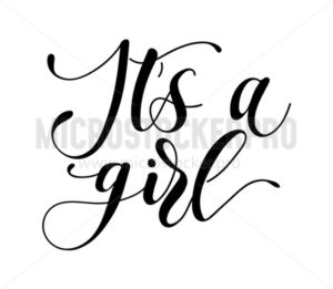 Baby girl shower modern lettering inscription for baby shower party invitation or greeting card. Calligraphy isolated on white background. Vector illustration. - Vector illustrations for everyone   Microstocker.Pro