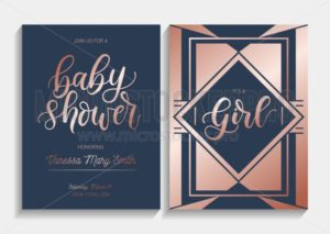 Baby shower cards set with lettering. Modern geometric design with navy blue and  rose gold colors. Elegance invitation for baby shower. Vector illustration. - Vector illustrations for everyone | Microstocker.Pro