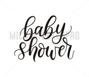 Baby shower lettering template isolated on white background. Minimalistic baby shower card design template. Vector illustration. - Vector illustrations for everyone | Microstocker.Pro