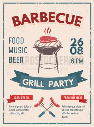 Barbeque retro poster with grunge effect. BBQ party invitation design. Vector illustration - Vector illustrations for everyone | Microstocker.Pro