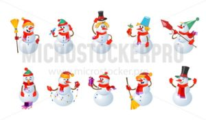 Big set of cartoon snowmans. Winter characters design isolated on white background - Vector illustrations for everyone | Microstocker.Pro