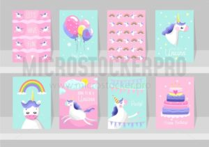 Big set of cute unicorn cards. Motivational and inspirational posters with unicorns. Born to be a Unicorns. Dream like a unicorn. Happy Birthday. Vector illustration. - Vector illustrations for everyone | Microstocker.Pro