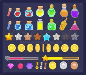Big set of game resources and elements icon. Coins with animation, stars, life and power bars, poison bottles, keys and gems. - Vector illustrations for everyone | Microstocker.Pro