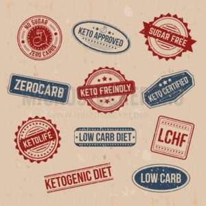 Big set of keto stamps and labels isolated on craft background with grunge effect. LCHF, Low carb, Zerocarb, Keto approved, no sugar zero carbs, sugar free, low carb diet, ketogenic diet stamps. - Vector illustrations for everyone | Microstocker.Pro