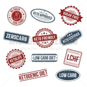 Big set of keto stamps and labels isolated white craft background with grunge effect. LCHF, Low carb, Zerocarb, Keto approved, no sugar zero carbs, sugar free, low carb diet, ketogenic diet stamps. - Vector illustrations for everyone | Microstocker.Pro
