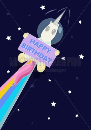 Birthday greeting card with cute astronaut unicorn in space and stars. Vector illustration - Vector illustrations for everyone | Microstocker.Pro