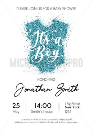 Boy baby shower invitation card with blue glittered baby clothing. It's a boy calligraphy inscription. Minimalistic elegance design template for baby boy shower. Vector illustration. - Vector illustrations for everyone | Microstocker.Pro