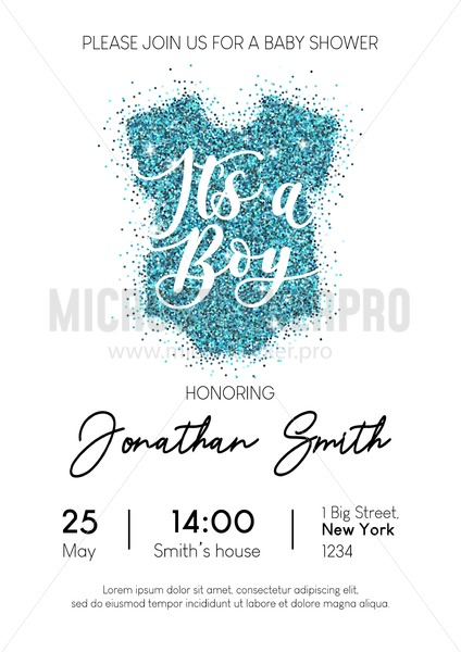 Boy Baby Shower Invitation Card With