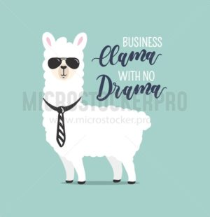 Business Llama with no drama cute card with handrawn alpaca. Greeting card for Boss's day or motivational poster with lettering. Vector illustration. - Vector illustrations for everyone | Microstocker.Pro