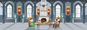 Cartoon castle hall with king and queen. Royal dinner in front of fireplace in big room. Vector illustration - Vector illustrations for everyone | Microstocker.Pro
