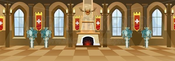 Cartoon castle hall with knights, fireplace and windows in big room. Vector illustration - Vector illustrations for everyone   Microstocker.Pro
