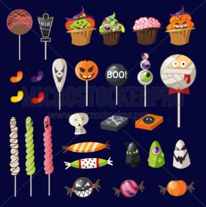 Cartoon halloween sweets on navy blue background. Halloween decoration set. Vector illustration - Vector illustrations for everyone | Microstocker.Pro