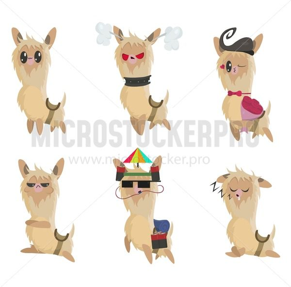 Cartoon llama set. Set of cute llama stickers or badges isolated on white background. Cute llamas with different emotions and mood. Alpaca vector illustration set. - Vector illustrations for everyone   Microstocker.Pro