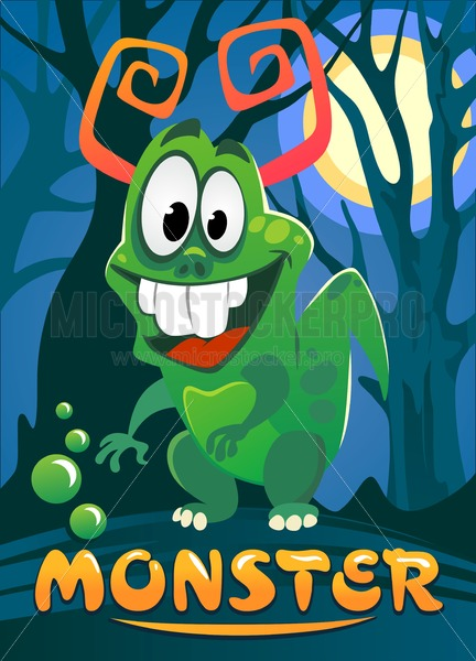 Cartoon monster illustration for poster, greeting card, party or Halloween. Cute monster staying in moonlight with forest on background. Vector illustration. - Vector illustrations for everyone | Microstocker.Pro