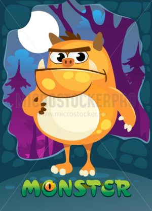 Cartoon monster illustration for poster, greeting card, party or Halloween. Cute orange monster staying in moonlight with forest on background. Vector illustration. - Vector illustrations for everyone | Microstocker.Pro