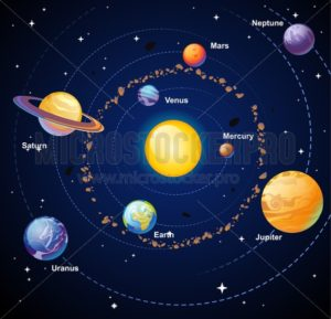 Cartoon solar system with planets on blue backround. vector illustration - Vector illustrations for everyone | Microstocker.Pro