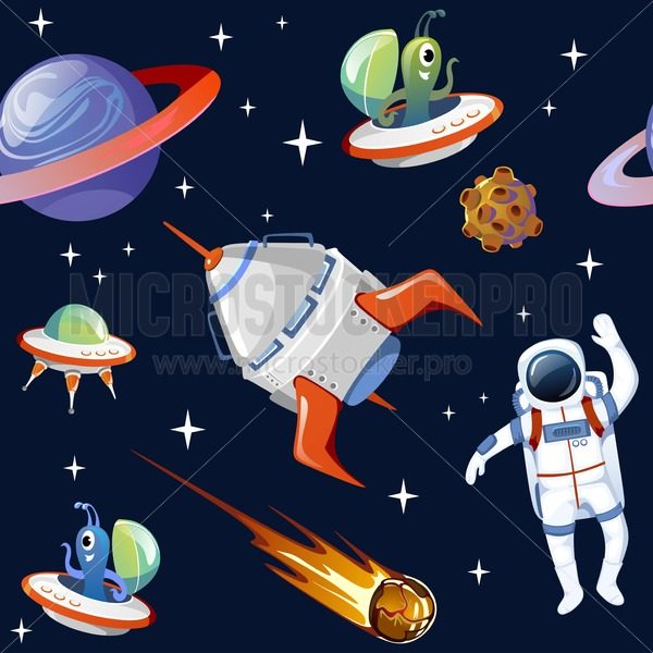Cartoon space seampless pattern. Planets, asteroids, astronauts, ufo, spaceships and stars isolated on blue background. - Vector illustrations for everyone | Microstocker.Pro