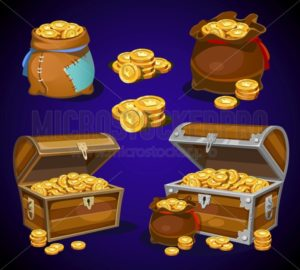Casino and Game cartoon 3d money icons. Gold coins in moneybags and chests.Game design money items. Gold coins on blue background. - Vector illustrations for everyone | Microstocker.Pro