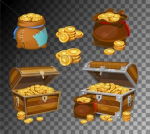 Casino and Game cartoon 3d money icons. Gold coins in moneybags and chests.Game design money items. Gold coins on transparent background. - Vector illustrations for everyone | Microstocker.Pro