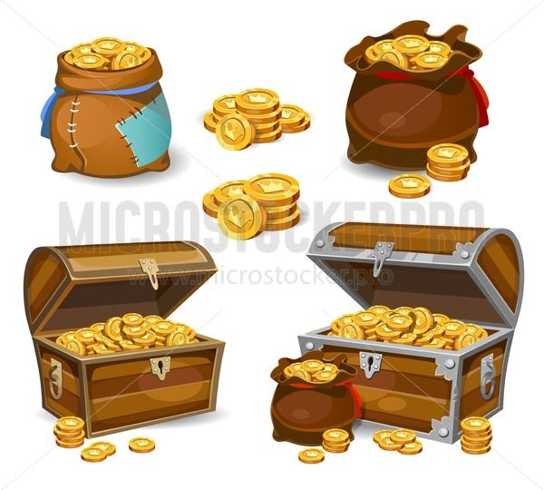 Casino and Game cartoon 3d money icons. Gold coins in moneybags and chests.Game design money items. Gold coins on white background. - Vector illustrations for everyone | Microstocker.Pro