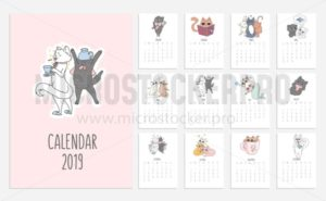 Cats cute calendar for 2019 with doodled kitties. Vector planner illustration for New Year. - Vector illustrations for everyone | Microstocker.Pro