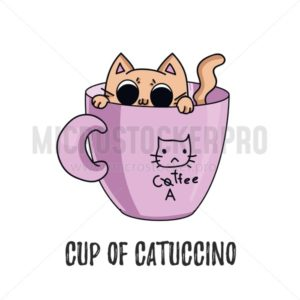 Catucchino coffee cute illustration with cat sitting in the pink mug. Vector illustration - Vector illustrations for everyone | Microstocker.Pro