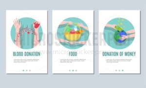 Charity and donation banner set for mobile application or web banners. Vector illustration - Vector illustrations for everyone | Microstocker.Pro