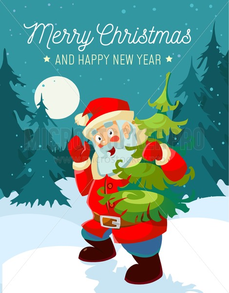 Christmas cartoon greeting card with Santa and Christmas tree. Happy New Year design concept. - Vector illustrations for everyone | Microstocker.Pro
