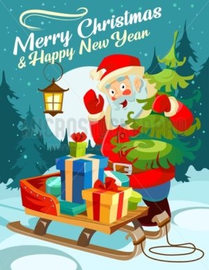 Christmas greeting card. Happy New Year design concept. Cute card with Christmas elements and Santa.Vector illustration - Vector illustrations for everyone | Microstocker.Pro