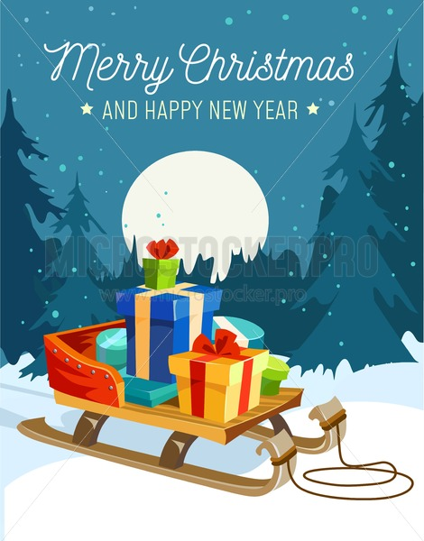 Christmas Illustrations.Christmas Greeting Card Happy New Year Design Concept Cute Card With Christmas Elements Vector Illustration