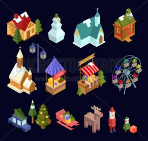 Christmas market and city isometric set isolated on navy blue background. Vector illustration - Vector illustrations for everyone | Microstocker.Pro