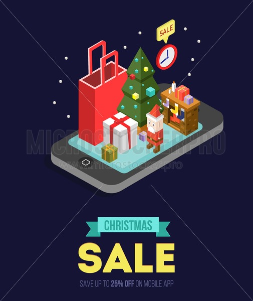 Christmas sale online shopping isometric vector illustration.Internet shop store in Smartphone with Christmas gifts, fireplace, Christmas tree and Santa. - Vector illustrations for everyone   Microstocker.Pro