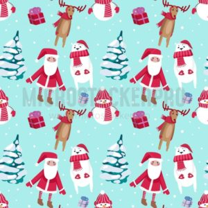 Christmas seamless pattern design with snowman, Santa, deers and Christmas trees. Vector illustration - Vector illustrations for everyone | Microstocker.Pro