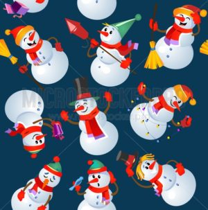 Christmas seamless pattern design with snowmans. Vector illustration - Vector illustrations for everyone | Microstocker.Pro