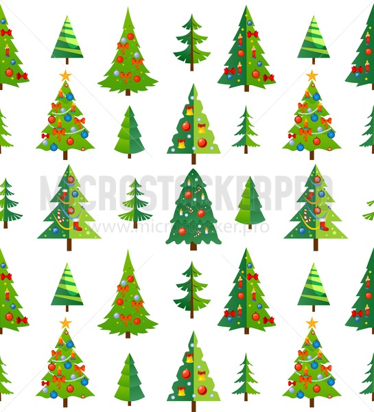 Christmas seamless pattern with blue trees and decorations. Cartoon background for prints, textile, gifts etc. Vector illustration - Vector illustrations for everyone | Microstocker.Pro