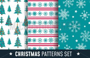 Christmas seamless patterns set with snowflakes, trees and decorations. Cartoon backgrounds for prints, textile, gifts etc. Vector illustration - Vector illustrations for everyone | Microstocker.Pro