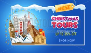 Christmas tours travel promo banner design template. Vector illustration - Vector illustrations for everyone | Microstocker.Pro