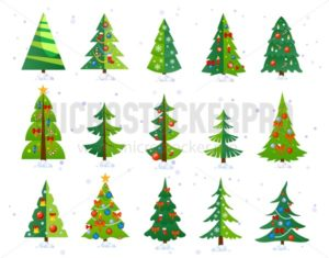 Christmas trees icon set isolated on white background. Cute Christmas trees with toys and snow. New year decorations. Vector ilustration. - Vector illustrations for everyone | Microstocker.Pro