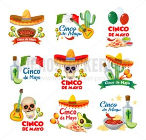 Cinco de mayo labels with traditional mexican food and decorations. Vector illustration. - Vector illustrations for everyone | Microstocker.Pro
