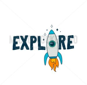 Colofur space card design with rocket, planets and stars. Vector illustration - Vector illustrations for everyone | Microstocker.Pro