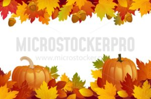 Colorful autumn background with pumpkins and leaves. Fall vector illustration - Vector illustrations for everyone | Microstocker.Pro