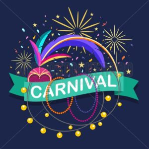 Colorful carnaval greeting card. Vector design template with carnaval elements on blue background - Vector illustrations for everyone | Microstocker.Pro