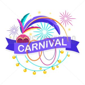 Colorful carnaval greeting card. Vector design template with carnaval elements on white background - Vector illustrations for everyone | Microstocker.Pro