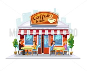 Colorful coffeeshop building. Summer Street Cafe terrace. Cartoon coffee cafe facade with people and city landscape. - Vector illustrations for everyone | Microstocker.Pro