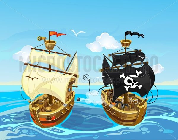 Colorful illustration with pirate ship battle in the sea. Vector cartoon pirate illustration. - Vector illustrations for everyone | Microstocker.Pro