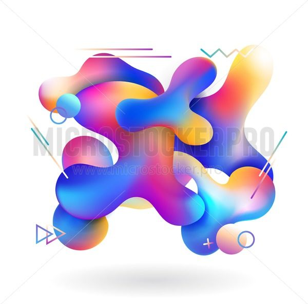 Colorful posters with liquid abstract shapes and geometric elements. Abstract design for cards, invitations, packaging, mobile ui etc. Vector illustration. - Vector illustrations for everyone   Microstocker.Pro