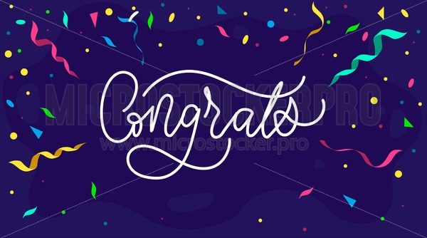 Congratulations design template with confetti and lettering, Vector illustration - Vector illustrations for everyone | Microstocker.Pro